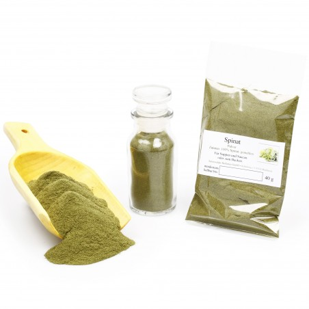 Spinatpulver, natürliche Lebensmittelfarbe grün zum Kochen & Färben, 40g
